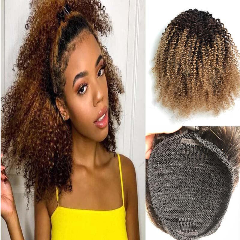 ombre human hair kinky curl ponytail