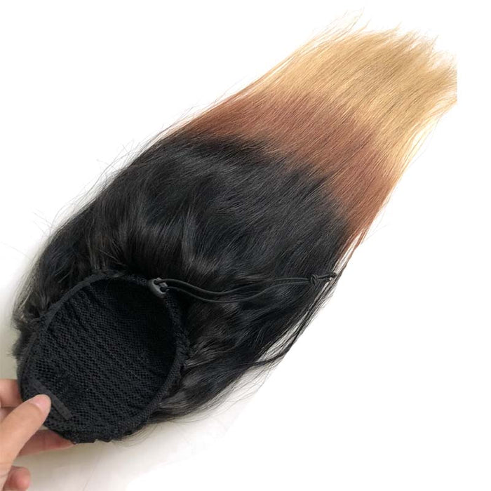 ombre human hair ponytail straight for black women