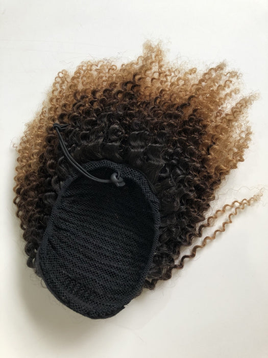 ombre kinky curl Brazilian human hair ponytail