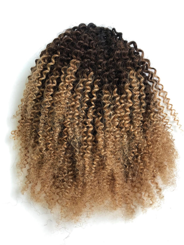 ombre kinky curl human hair ponytail
