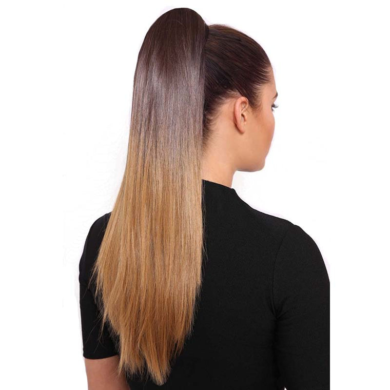 Brown ombre ponytail extension human hair straight for Black Women