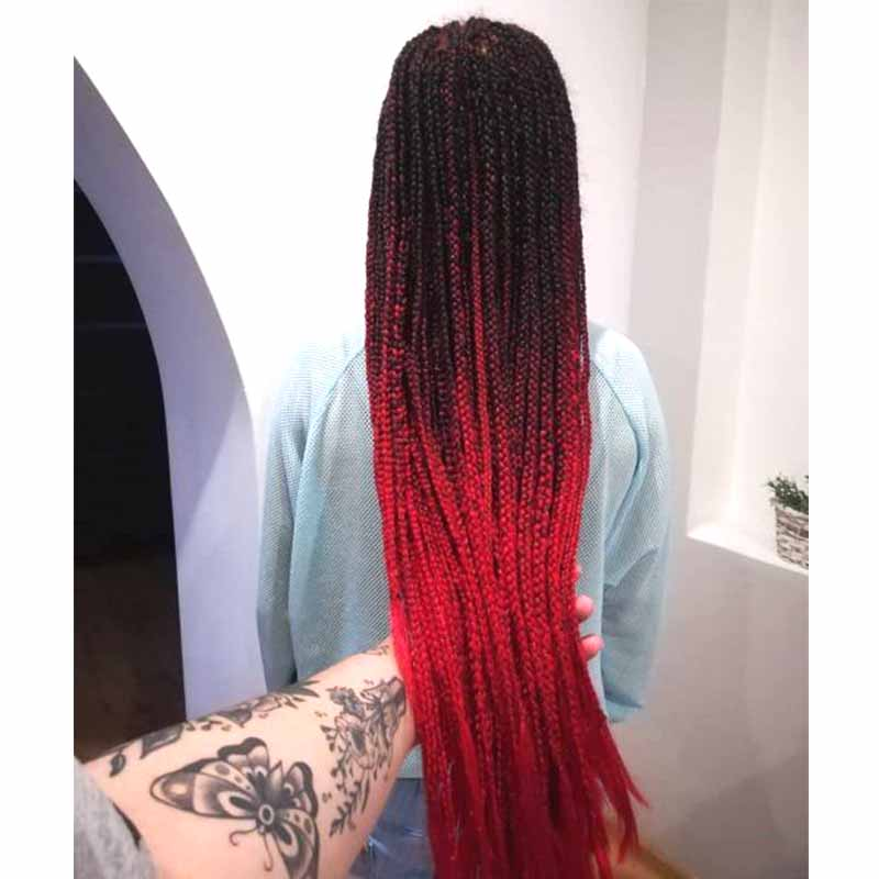 ombre red box braids lace wig for Black women