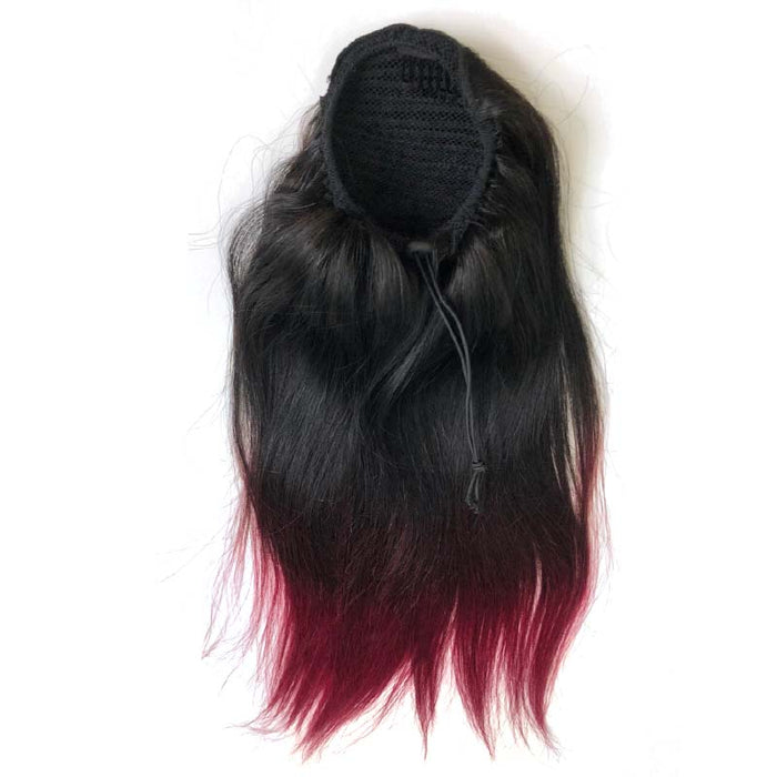 ombre red straight ponytail human hair