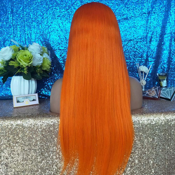 orange color lace frontal wig  human hair straight