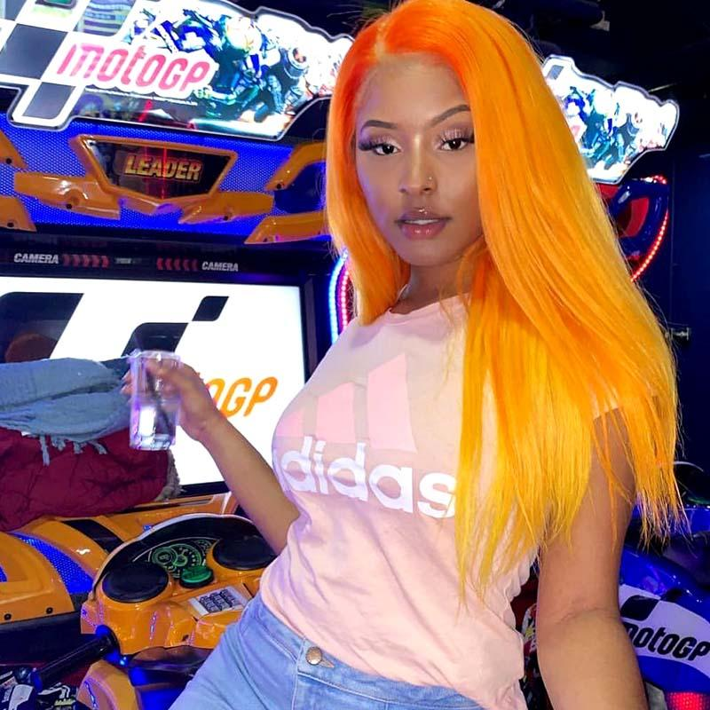 orange lace wig human hair for American African women