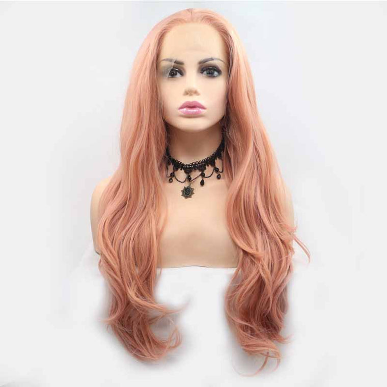 Surprisehair Pink Color Synthetic Lace Front Wig Wavy 26inch
