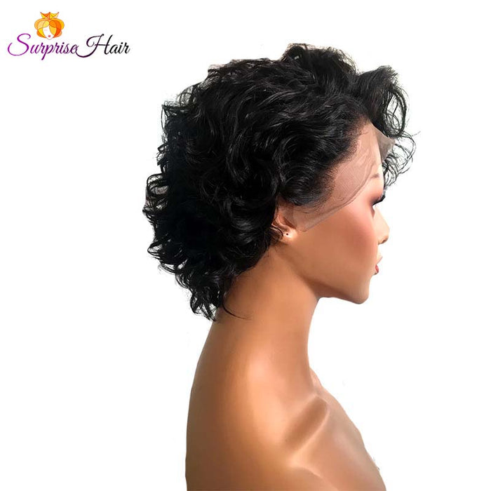 short human hair pixie cut wig curly