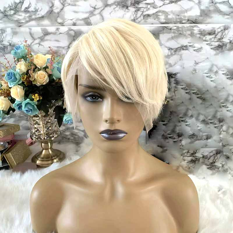 short human hair pixie cut wig blonde for African American Surprisehair