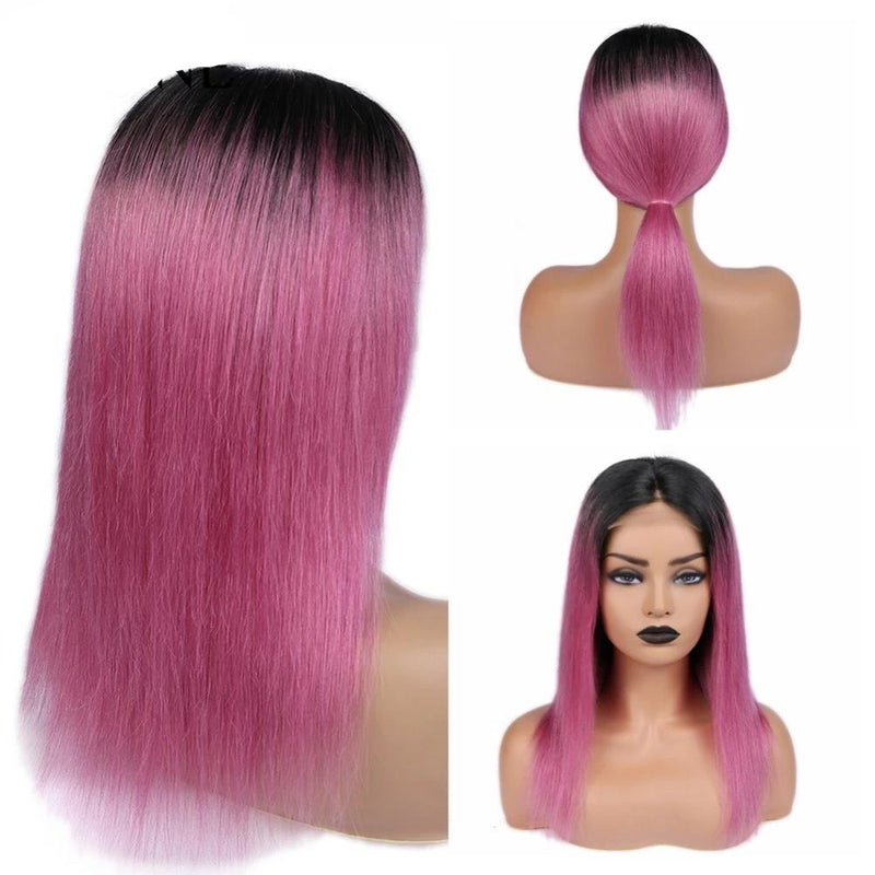 best Human Hair Wigs Ombre Pink 150% Density