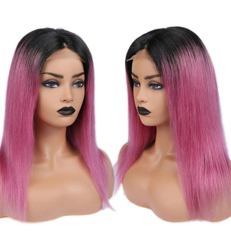 Human Hair Wigs Ombre Pink for black women