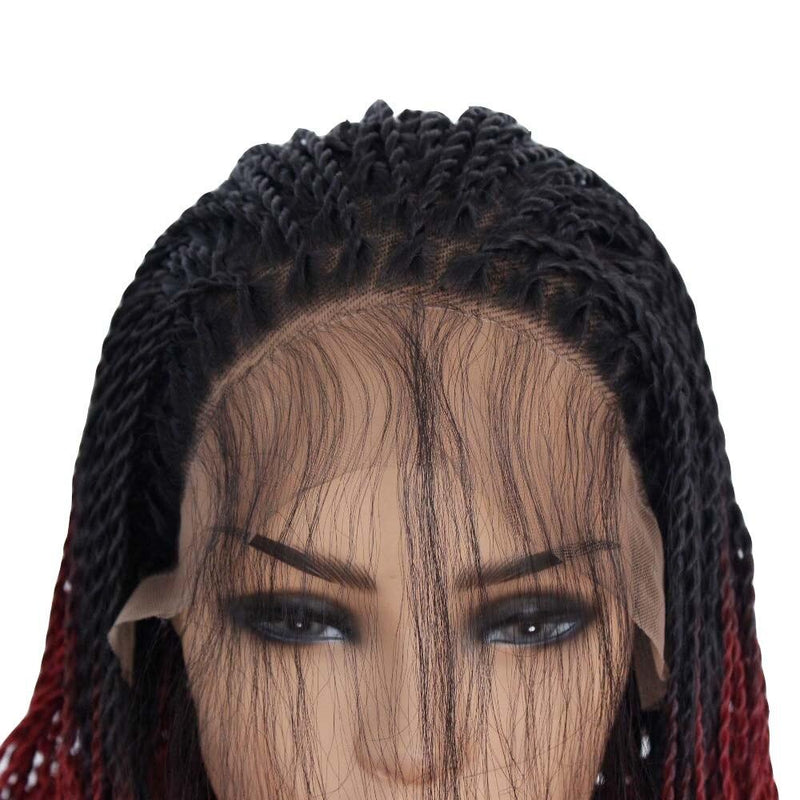 Ombre Red Braids Lace frontal Wig For Black Women