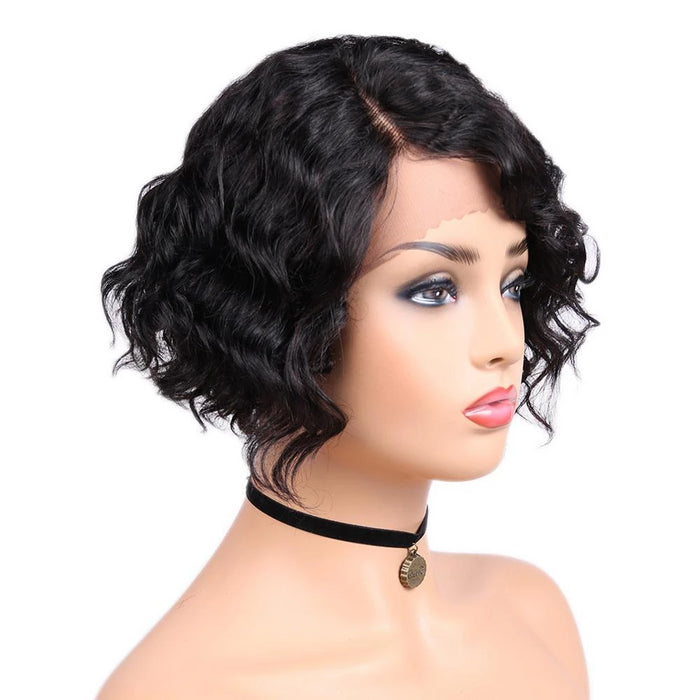 Short Water Wave side part for black women