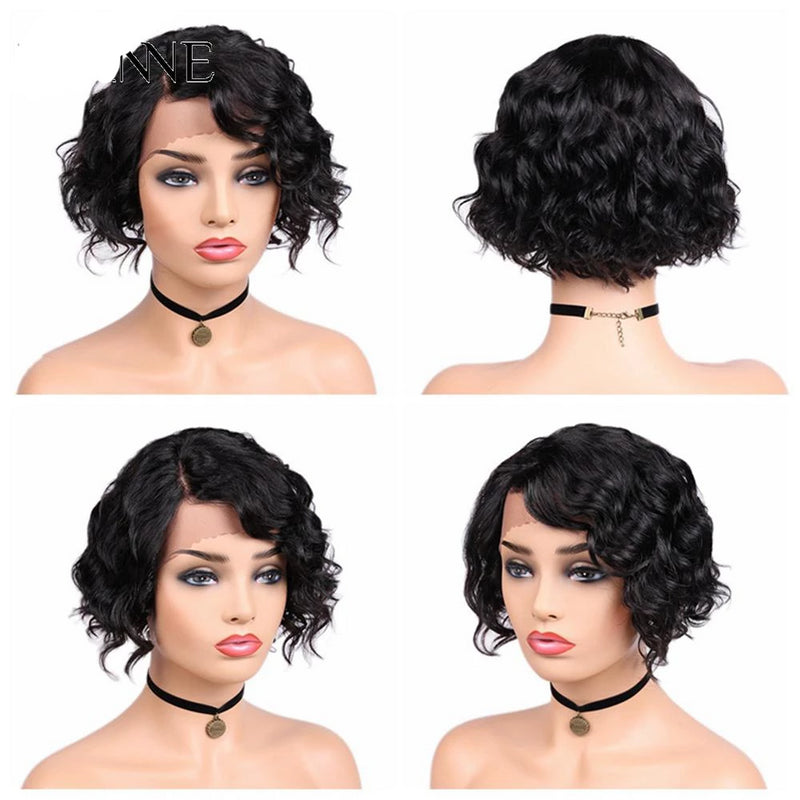 Black women Lace Front Wigs Side Part Wavy 8inch