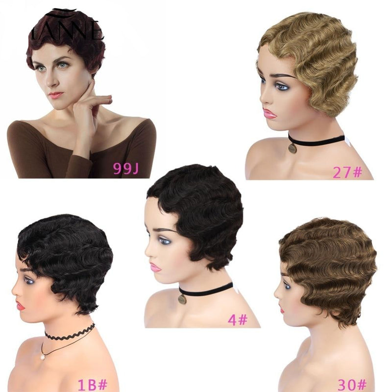 finger wave pixie cut short wig for black women