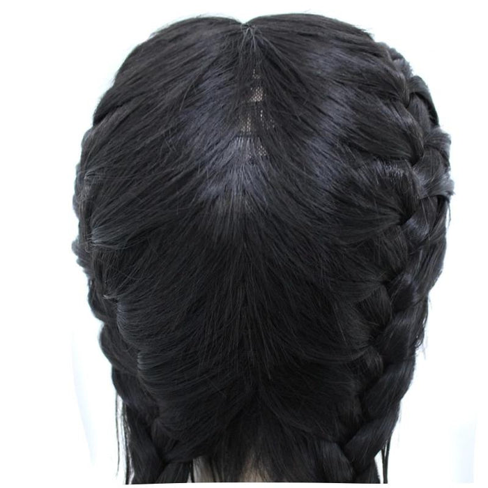 Middle Part Long Double Braids Lace Front Wig for black women