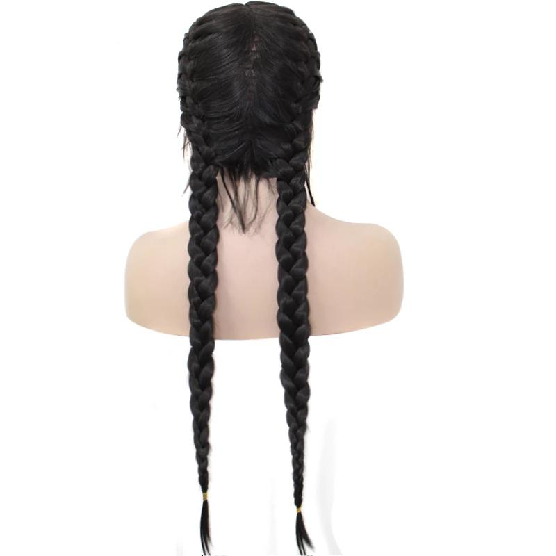 black double braids wig for african american