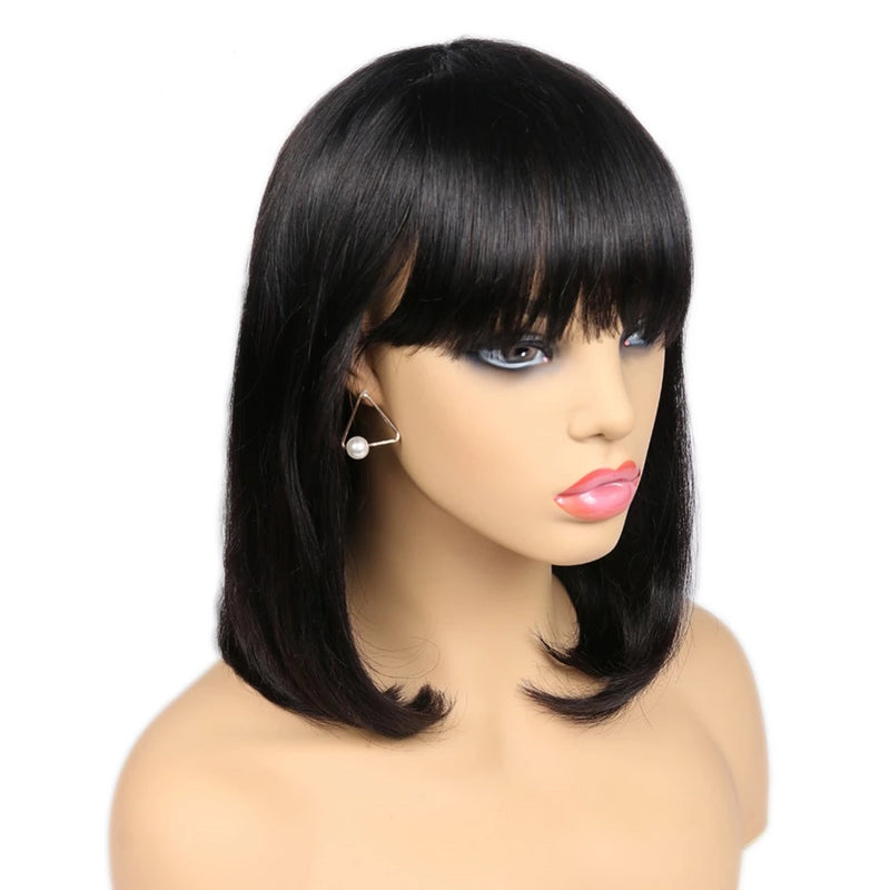 short human hair bob wigs with bangs