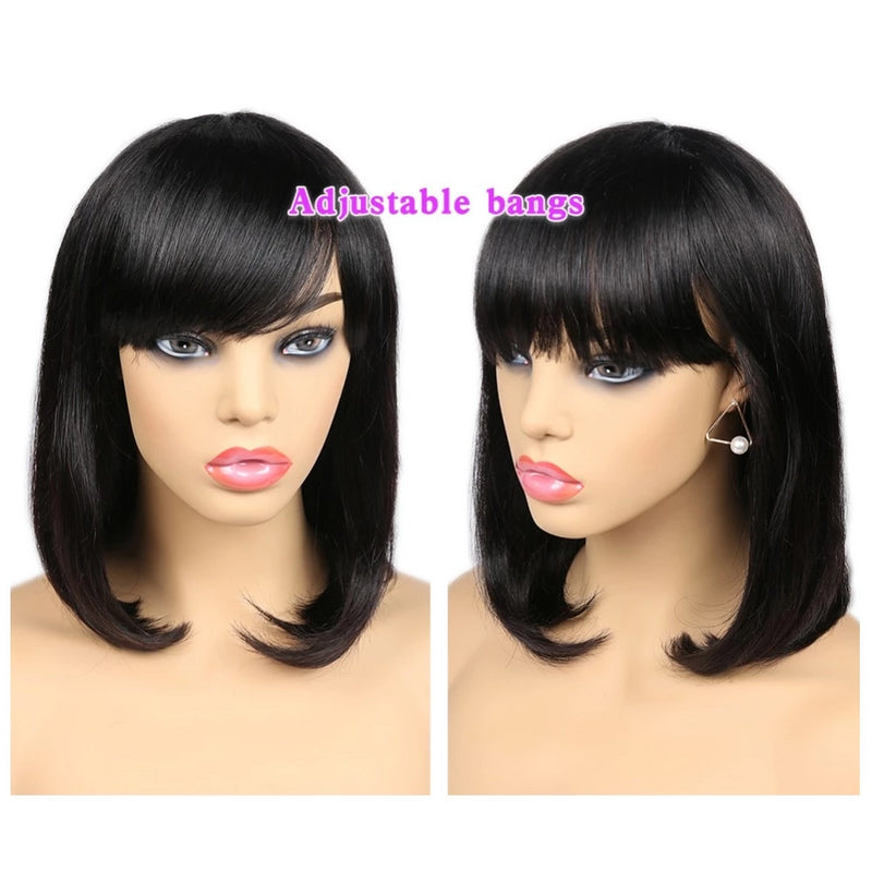 human hair bob wigs with bangs for African Amerian