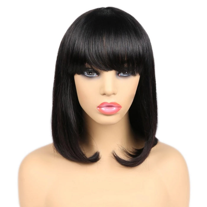 human hair short bob wigs with bangs for black women