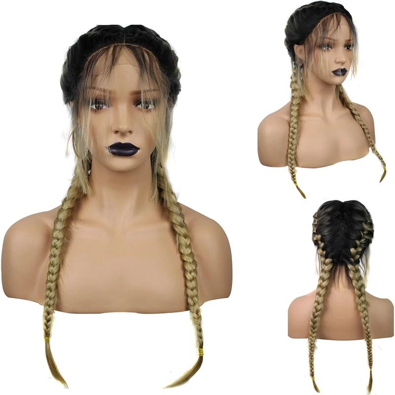 Dark Roots Ombre Blonde double  Braided High Temperature Fiber Lace Wig