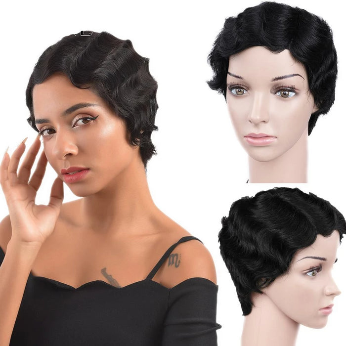 short finger wave wig for African American