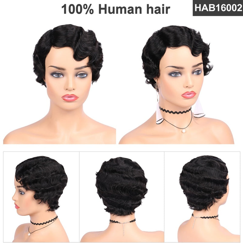 short finger wave wig human hair for sale