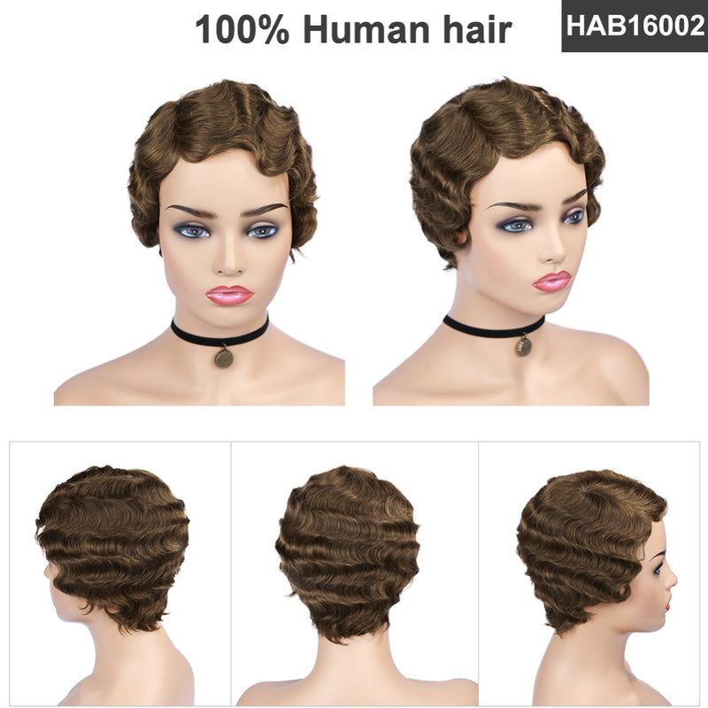 short finger wave wig human hair for black women