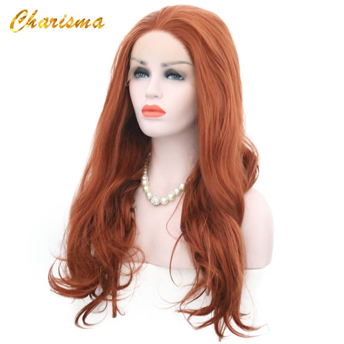 Red Body Wave Synthetic Lace Front Wigs High Temperature Fiber for  Women Wigs