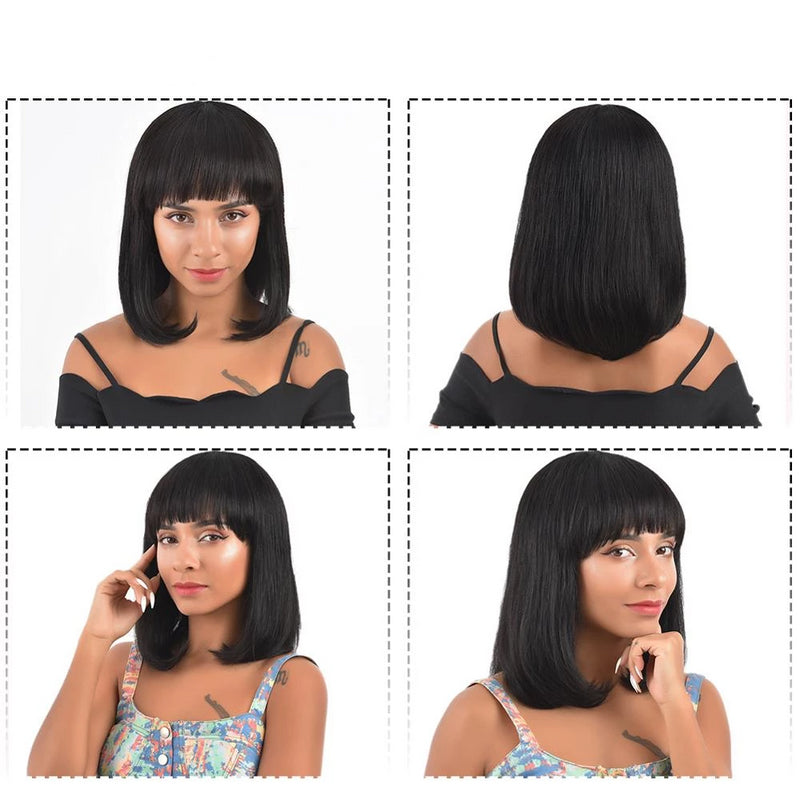 human hair bob wigs with bangs for black women