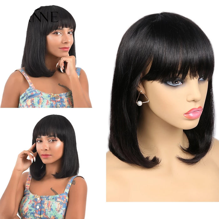 human hair bob wigs with bangs