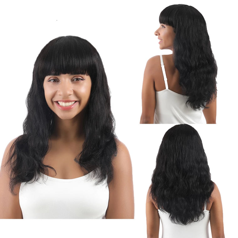Body Wave Human Hair Wigs With Bangs Natural Black Color-Surprisehair
