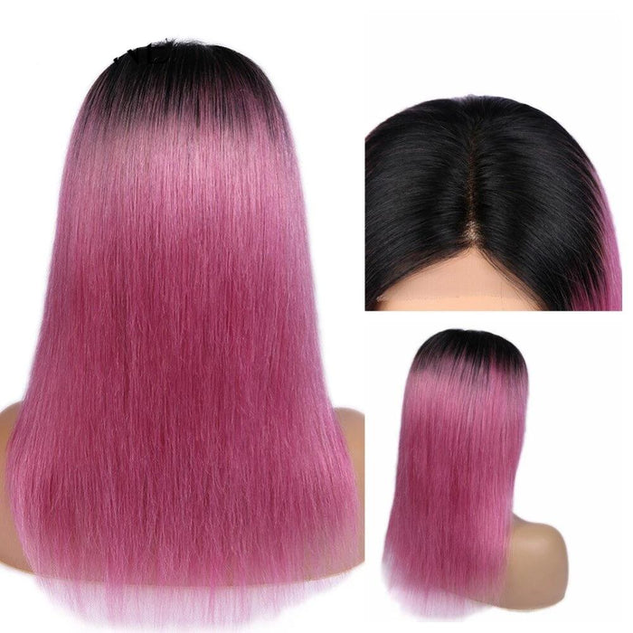 cheap human hair Wigs Ombre Pink for black women