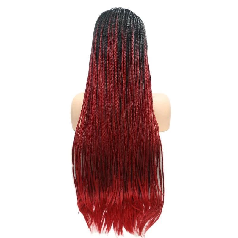 Long Ombre Wine Red Box Braid Lace Frontal Wig for African American