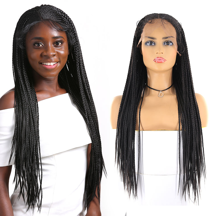 Black 13x6 Lace Front Box braided Wigs synthetic hair Surprisehair