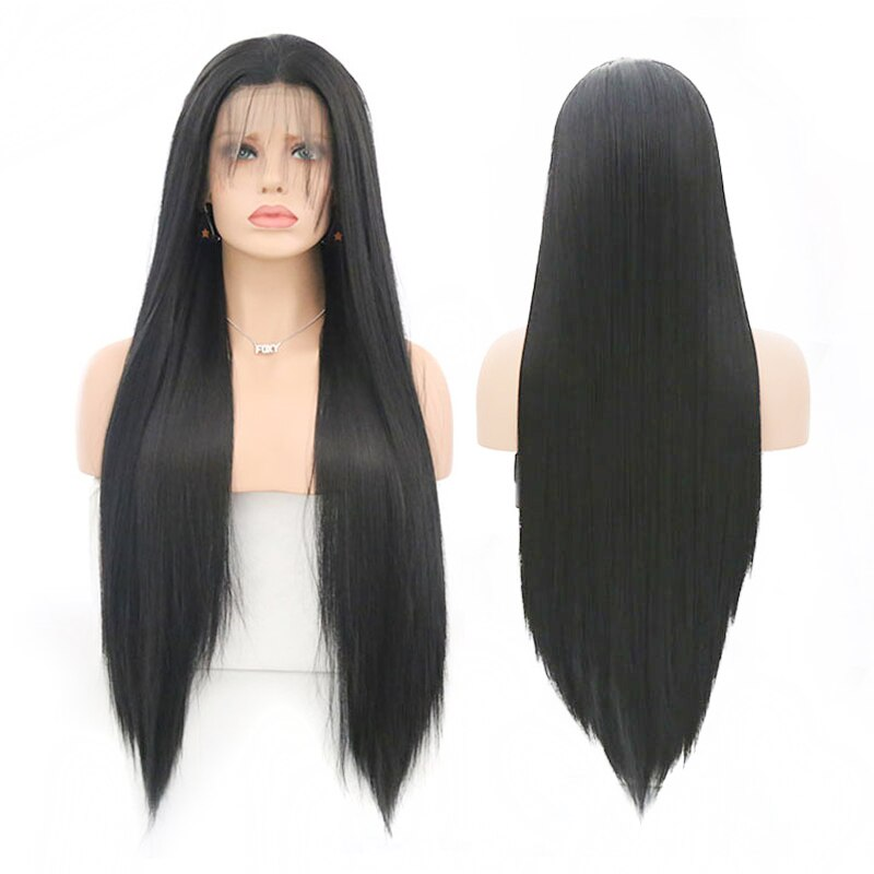 Heat Resistant Fiber black Synthetic Lace Front Wig With Baby Hair For Women