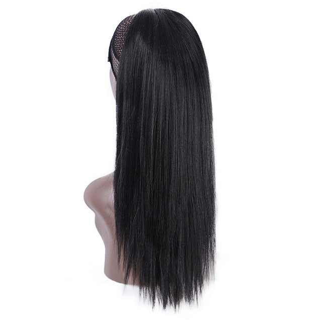 Black synthetic yaki ponytail for women