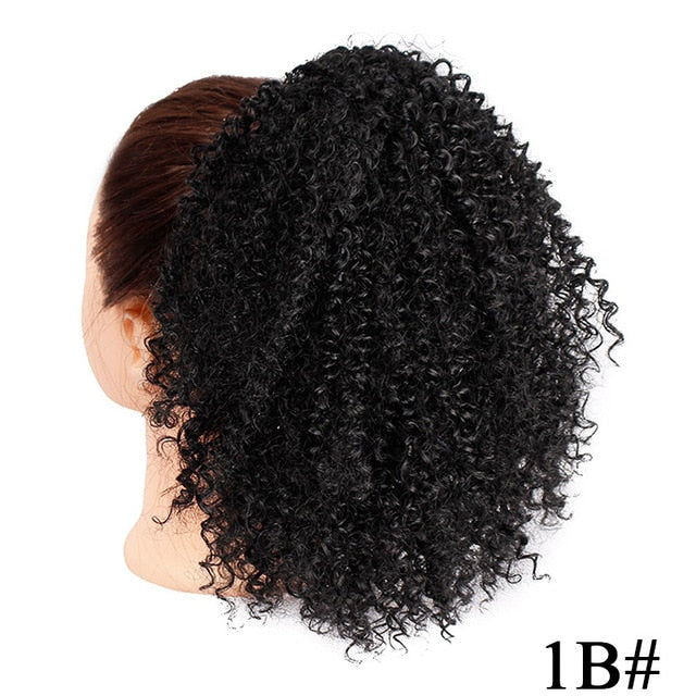 Short Synthetic kinky curly drawstring ponytail  for Black Women