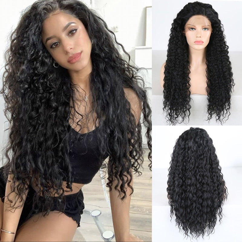 Black Natural wave synthetic lace frontal  Wigs with Baby Hair  for Black Women