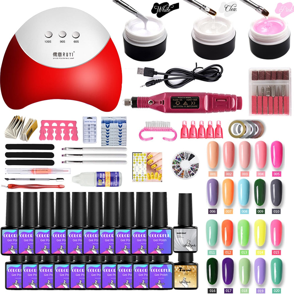 36W UV LED Lamp For Manicure Set For Nail Art Semi-permanent uv varnish 20 colors