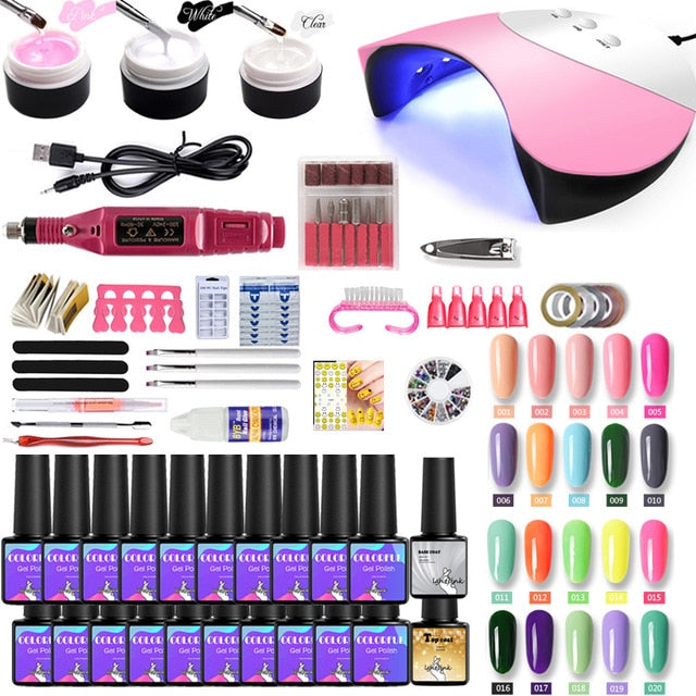 Nail Set UV LED Lamp For Manicure 20/10pcs Gel Nail Polish Set