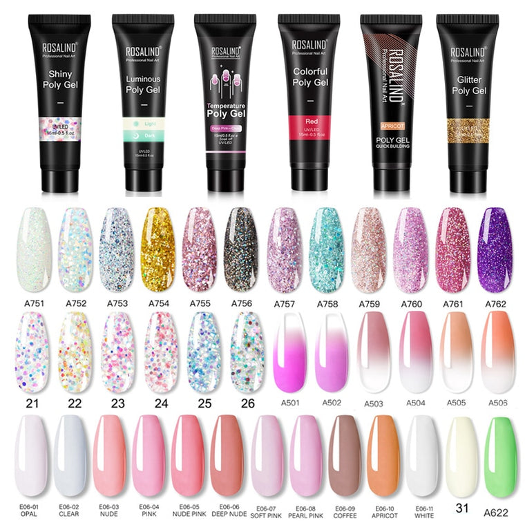 15ml Polygel Glitter Builder Gel All For Manicure Nails Art Design Luminous Poly Gel Nail Extension