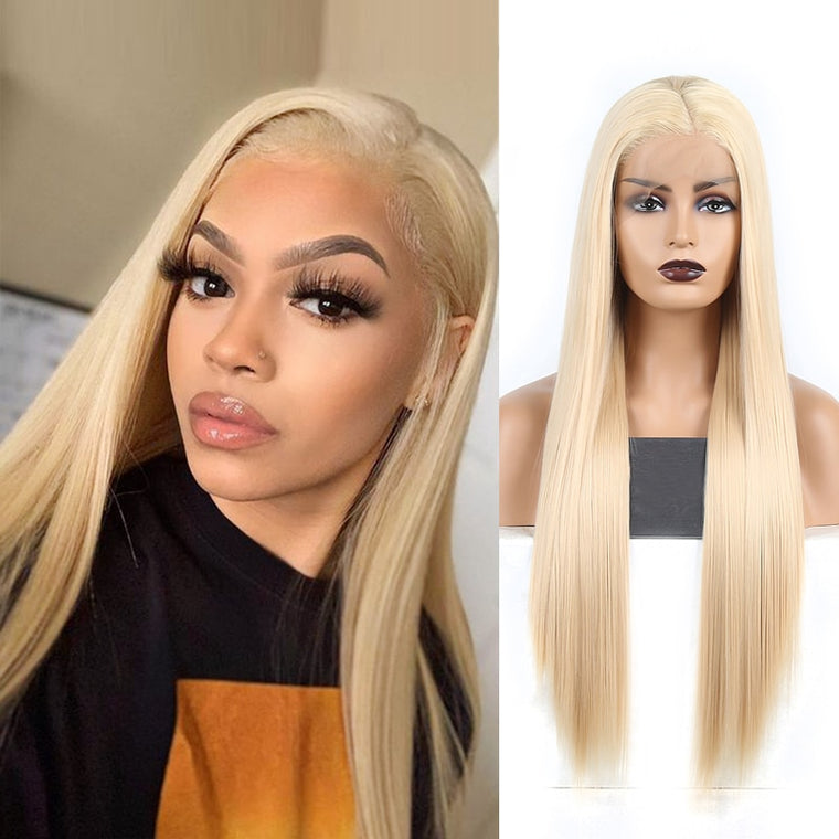 Long Blond Straight Synthetic Lace Front Wig Heat Resistant Wig For Women