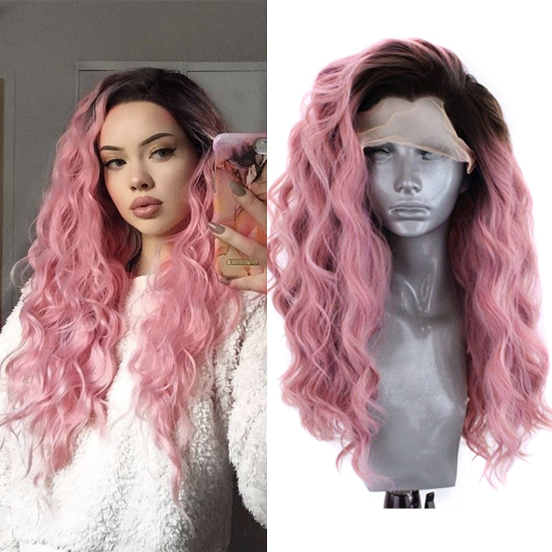 Ombre Pink Wave Synthetic Lace Front Wig Heat Resistant Fiber Hair Glueless Wigs