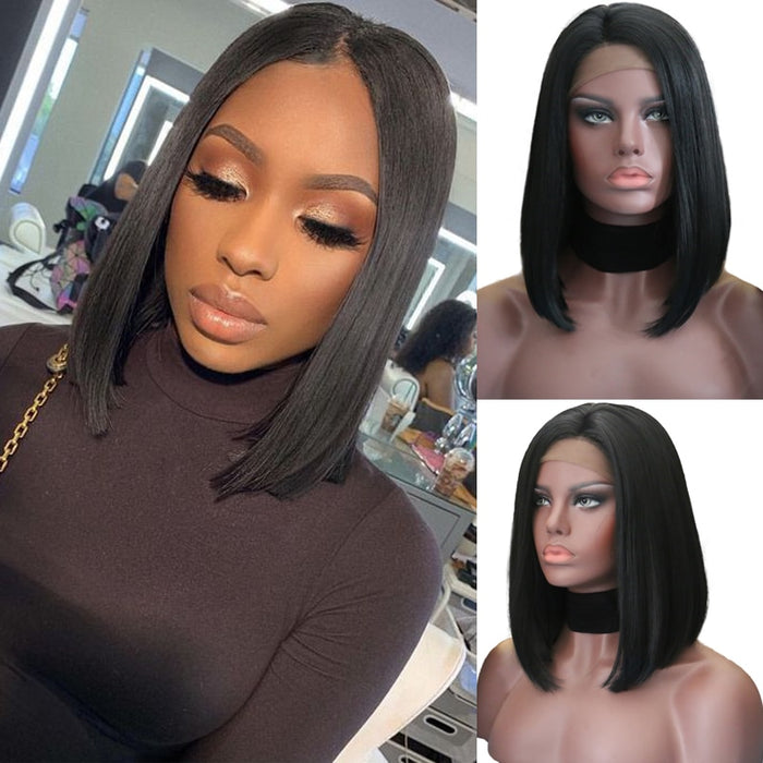 Black Short Bob Lace frontal synthetic Wig Heat Resistant Glueless Wigs For Black Women