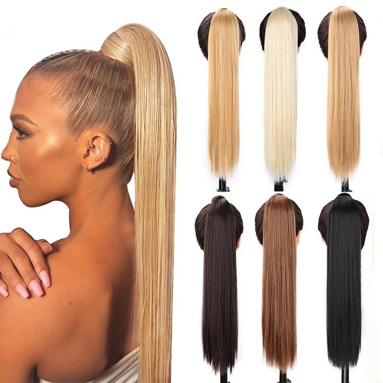 Natural Wavy Long Ponytail Synthetic Hairpiece Wrap on Clip Hair Extensions