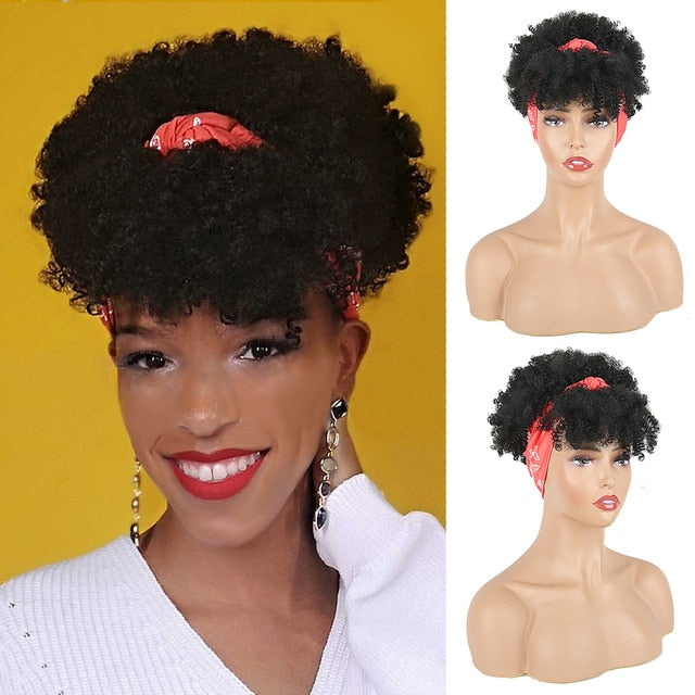 Drawstring High Puff Afro Kinky Curly ponytail with Bangs Hairpiece High ponytail