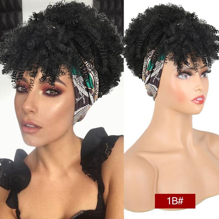 Natural Hair Puff with Bangs Drawstring Afro Kinky Puff with Headband