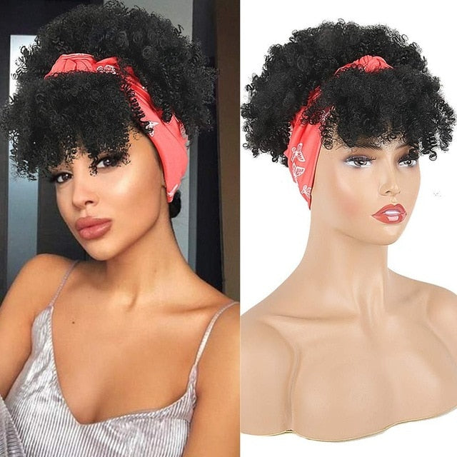 Headband Wig Drawstring Afro Kinky Curly With Bangs Afro Puff for Black women