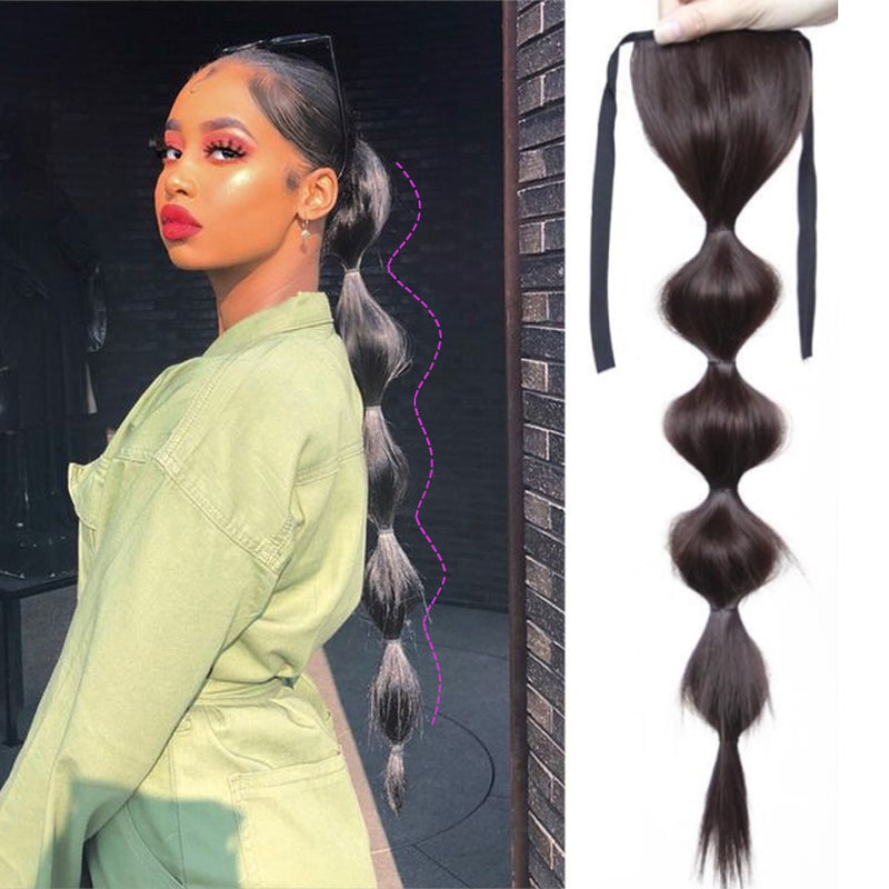 Lantern Bubble Ponytail Heat Resistant Clip in Drawstring PonyTail Hair Extensions