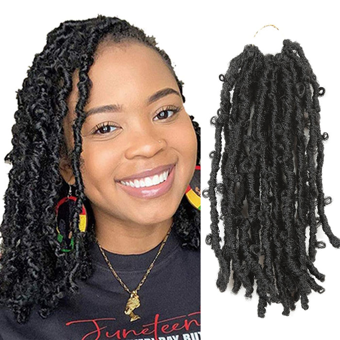 12inches  Butterfly Locs Crochet Braiding Hair  Pre-twisted Braids For African American